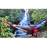 ENO - Eagles Nest Outfitters DoubleNest Hammock, Portable Hammock for Two, Red/Charcoal (Color: Red/Charcoal, Tamaño: One Size)