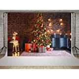 Kate 10x6.5ft Christmas Tree Photography Backdrops Red Brick Wall Background Photo Happy New Year Backdrop Shooting (Color: 4507, Tamaño: 10x6.5ft)