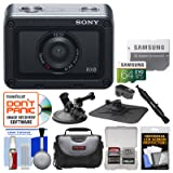 Sony DSC-RX0 Ultra-Compact Shock & Waterproof Video Camera with 64GB Card + Case + Suction Cup & Dashboard Mounts + Kit (Color: Black)