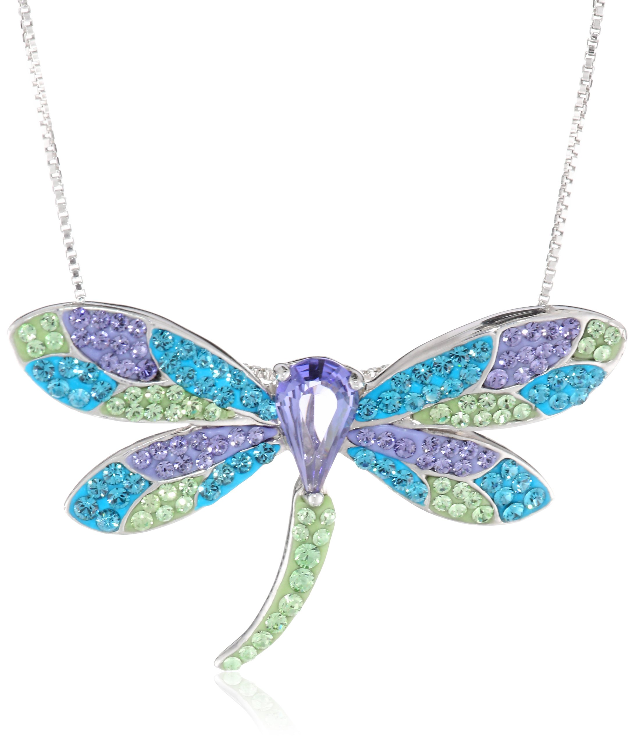 Carnevale Sterling Silver Dragonfly Necklace with Swarovski Elements  image