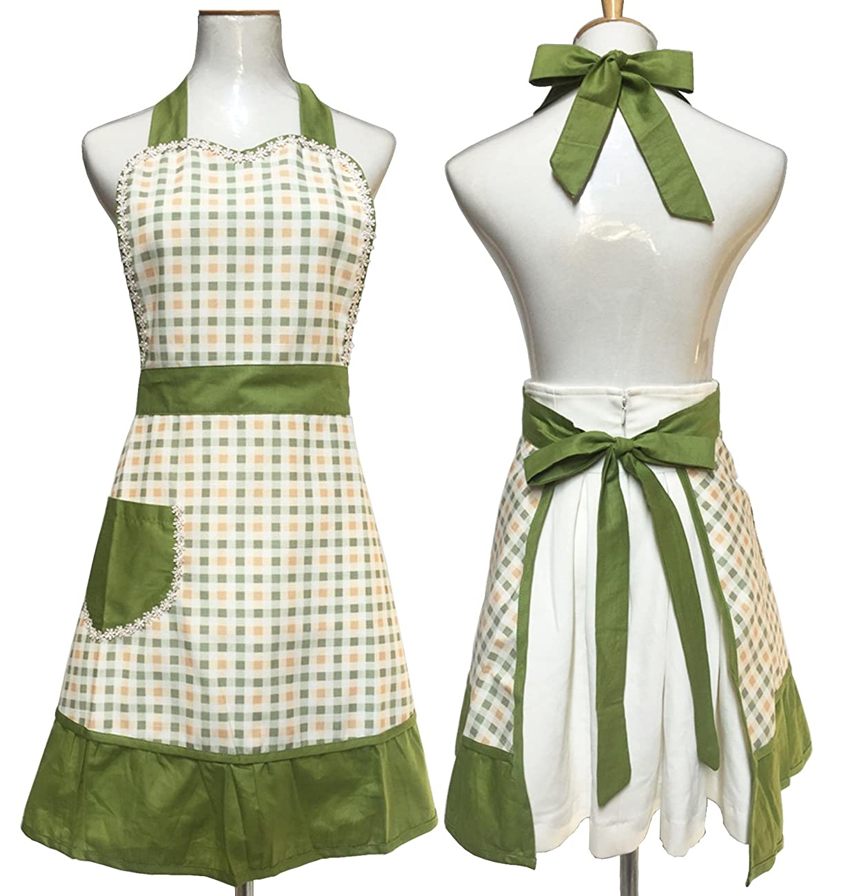Lovely Sweetheart Retro Kitchen Aprons Woman Girl Cotton Cooking Salon Pinafore Vintage Apron Dress with Pocket,Green 0