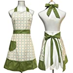 Lovely Sweetheart Retro Kitchen Aprons Woman Girl Cotton Cooking Salon Pinafore Vintage Apron Dress with Pocket,Green