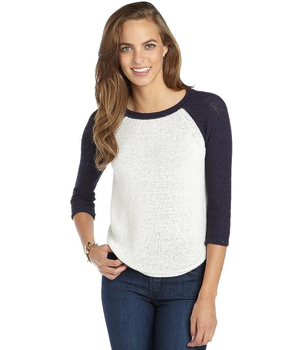 Acrobat Women's Linen Blend Knit Sequin Sleeve Baseball Sweater