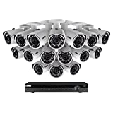 Lorex Weatherproof Indoor/Outdoor Home Surveillance Security System, 3MP HD IP Bullet Cameras with Long Range Night Vision (16 Pack) – Includes 16 Channel 4K NVR w/ 3 TB Storage Hard Drive (Tamaño: 16 Cameras, 3TB HD)