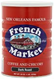 French Market Coffee & Chicory, City Roast(Dark Roast), 16-Ounce Cans (Pack of 3)