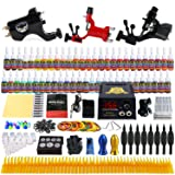 Solong Tattoo Complete Tattoo Kit 3 Pro Rotary Machine Guns 54 Inks Power Supply Foot Pedal Needles Grips Tips TK355