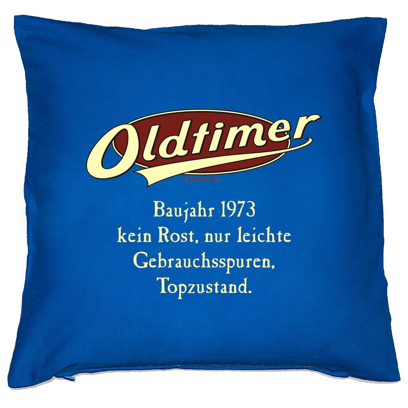 Kissen mit Innenkissen - OLDTIMER BAUJAHR 1973 - kein Rost, nur leichte Gebrauchsspuren, Topzustand. - zum 40. Geburtstag Geschenk - 40 x 40 cm - in royal-blau