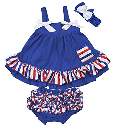 dd975c4f7 4th July Royal Blue Swing Top Red White Blue Stripe Baby Girl Bloomer  Nb-24m 97% cotton, 3% spandex handwash by coolwater 3 pieces set: a swing  top, ...