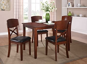 Homelegance Jonas 5 Piece Dining Room Set In Medium Cherry