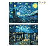 5D Full Drill Diamond Painting Kit,Hartop DIY Diamond Rhinestone Painting Kits for Adults and Beginner,Embroidery Arts Craft Home Office Decor 20 X 16 Inch(2 Pack of Starry Nights) (Color: 2 Pack of Starry Nights)