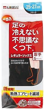 足の冷えない不思議な靴下 レギュラーソックス厚手ブラック25-27cmPP