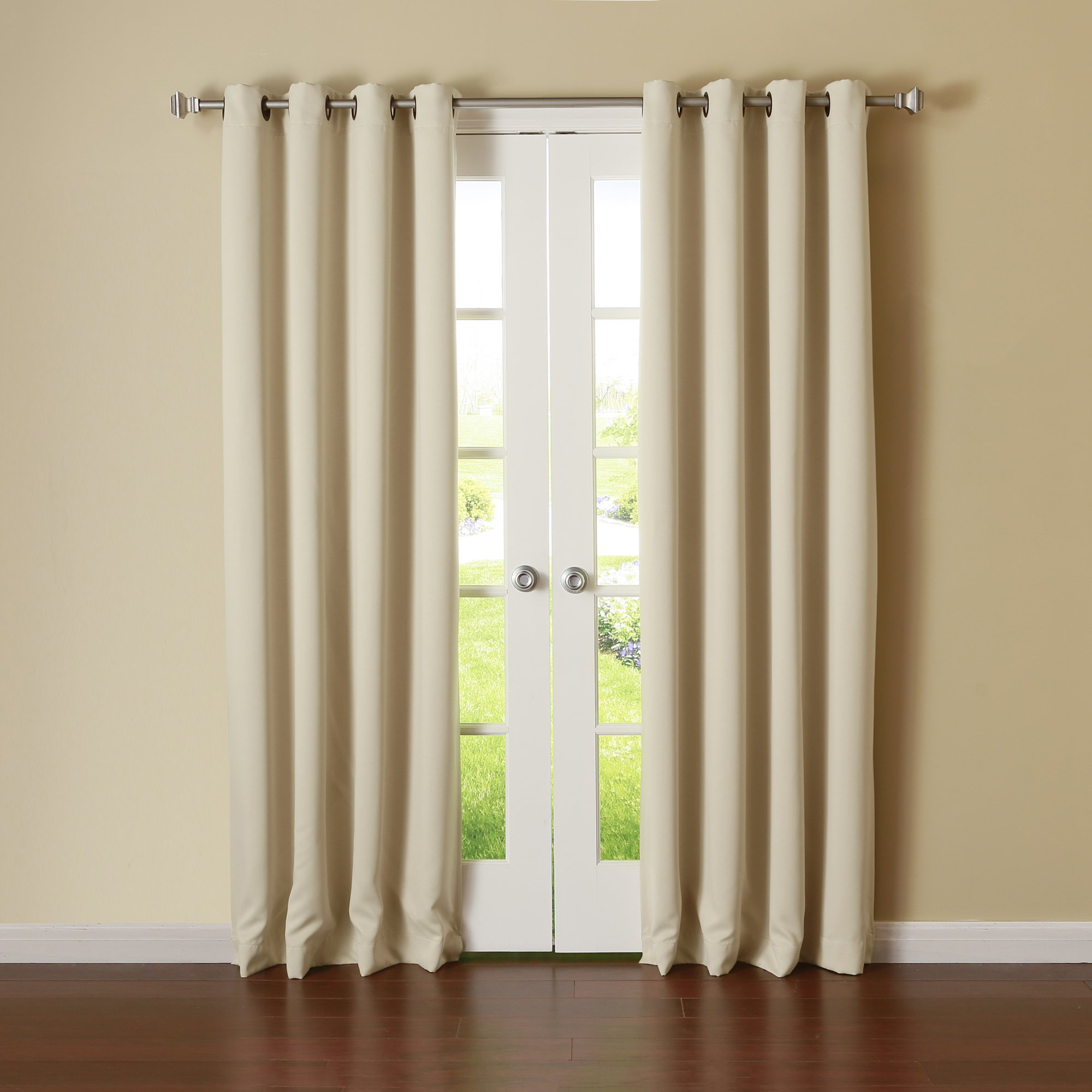 New window treatment beige panels grommet top thermal for Home drapes and curtains