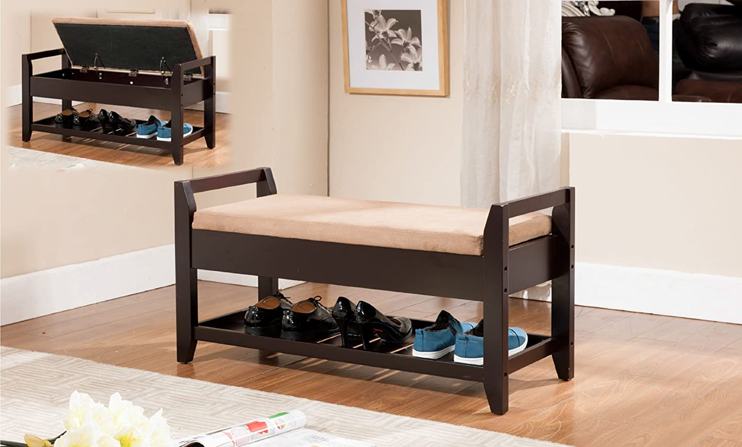 Kings brand espresso finish wood shoe storage bench with cushion seat new Shoe storage bench with cushion