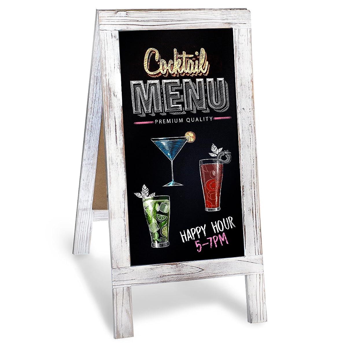 chalkboard a frame with rustic vintage gray wash frame sandwich board 20in x 40in blackboard. Black Bedroom Furniture Sets. Home Design Ideas