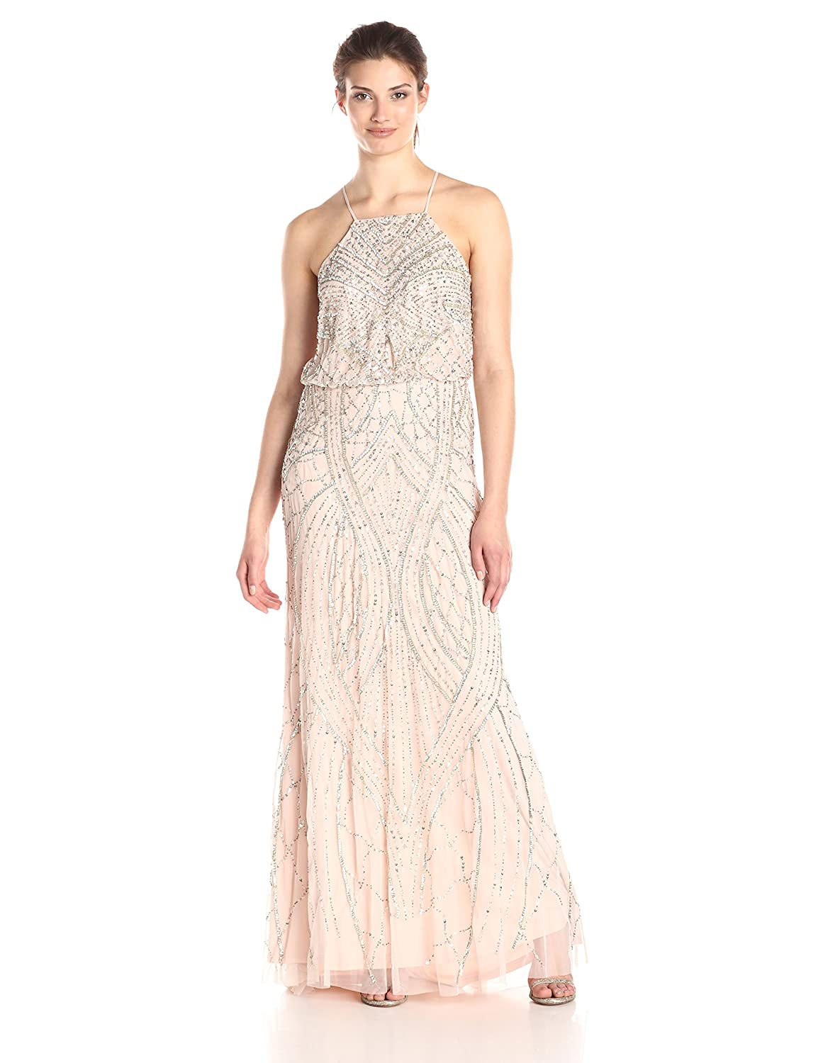 Halter Fully Beaded Blouson Gown