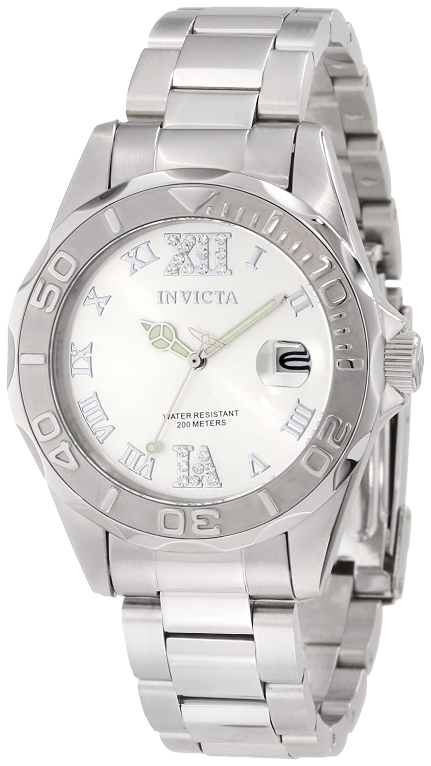 Invicta Women's 12851 Pro Diver Silver Dial Watch with Crystal Accents $79.99