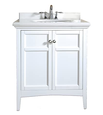 "Ove Campo-30 White Bathroom 30"" Vanity Ensemble with White Marble Countertop and Ceramic Basin"
