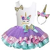 Kirei Sui Girls Lavender Pastel Satin Trimmed Tutu Birthday Unicorn S Four