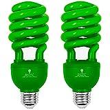 2 Pack BlueX CFL Green Light Bulb 24W - 100-Watt Equivalent - E26 Spiral Replacement Bulbs - Green Bulb Decorative Illumination - for Indoor or Outdoor - DJ, Colored Bulbs CFL, Party, Halloween Bulbs (Color: Green)