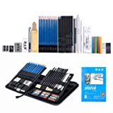 H & B Sketching Pencils Set, Drawing Pencils and Sketch Kit, 48-Piece Complete Artist Kit Includes Graphite Pencils, Pastel Stick, Color Pencils and Eraser, Professional Sketch Pencils Set for Drawing (Tamaño: 48-piece)