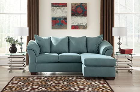Ashley Darcy 7500618 Sofa Chaise with Sweeping Padded Arms Pillow Back Cushions and Tapered Block Feet in