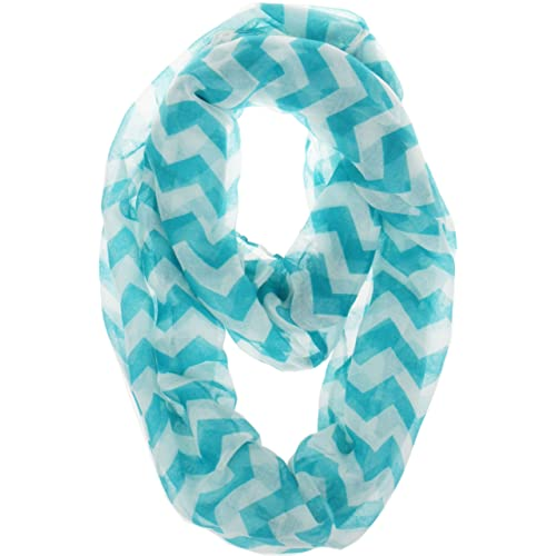 Vivian & Vincent Soft Light Weight Zig Zag Chevron Sheer Infinity Scarf (Big Chevron Teal)