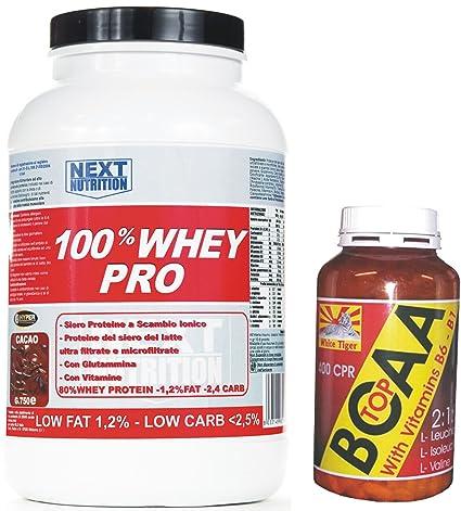 Kit bestehend aus Whey Protein (Molkeprotein) mit Vitaminen und Glutamin (750 Gramm Kakao- Geschmack) und BCAA verzweigtkettigen Aminosäuren mit Vitamin B6 und B1 (100 Tabletten - 105 Gramm) angereichert