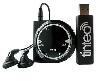 Tinteo TEO DUO Casque Audio sans fil pour TV/Radio 2,4 GHz avec Amplificateur d'Ecoute Noir