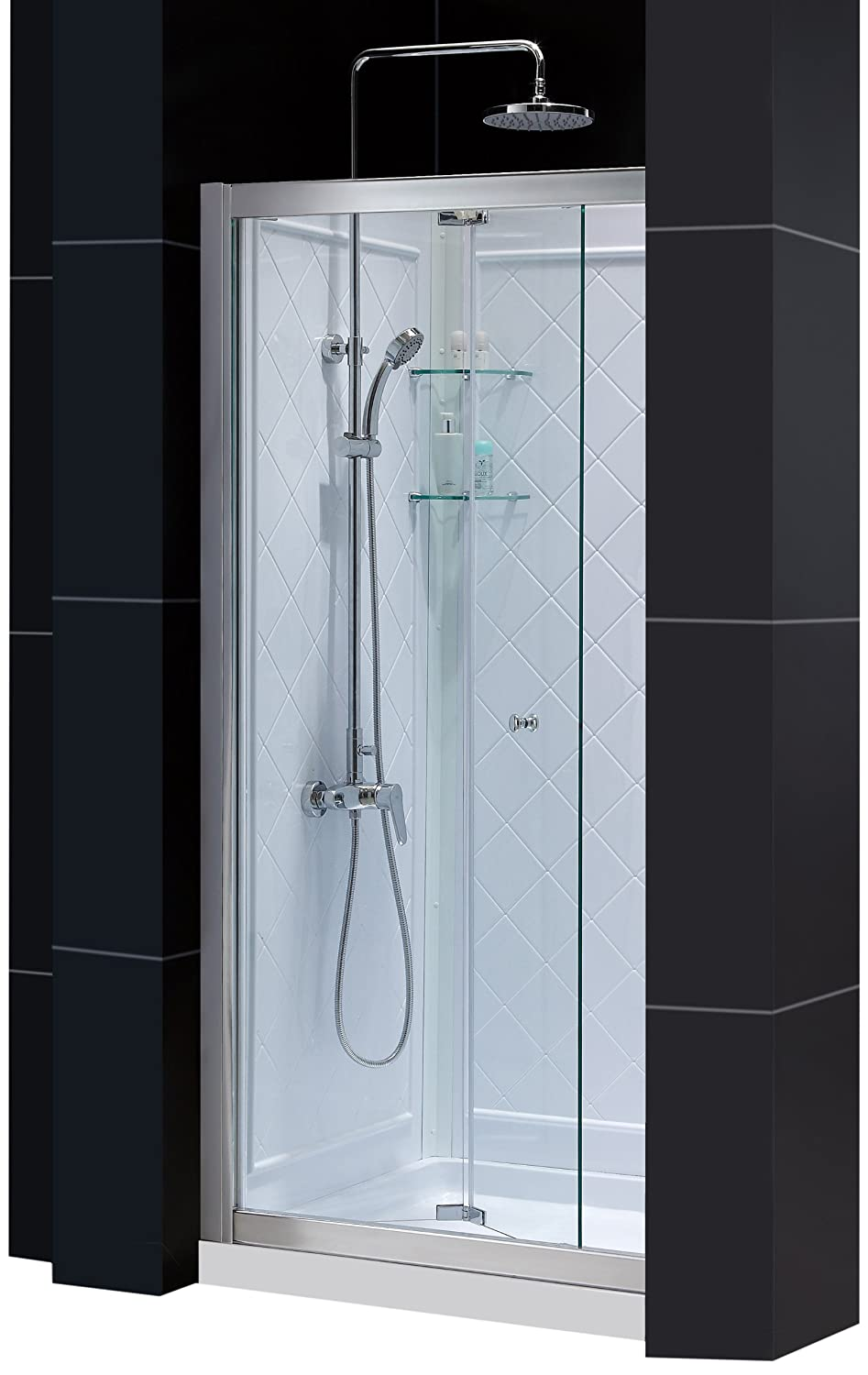 DreamLine DL-6130C-01CL Butterfly Frameless Bi-Fold Shower Door, 36-Inch by 36-Inch Single Threshold Shower Base and QWALL-5 Shower Back Walls Kit