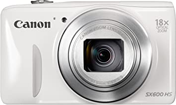 """Canon PowerShot SX600 HS Appareil photo numérique compact 16 Mpix Écran LCD 3"""" Zoom optique 18X Blanc"""
