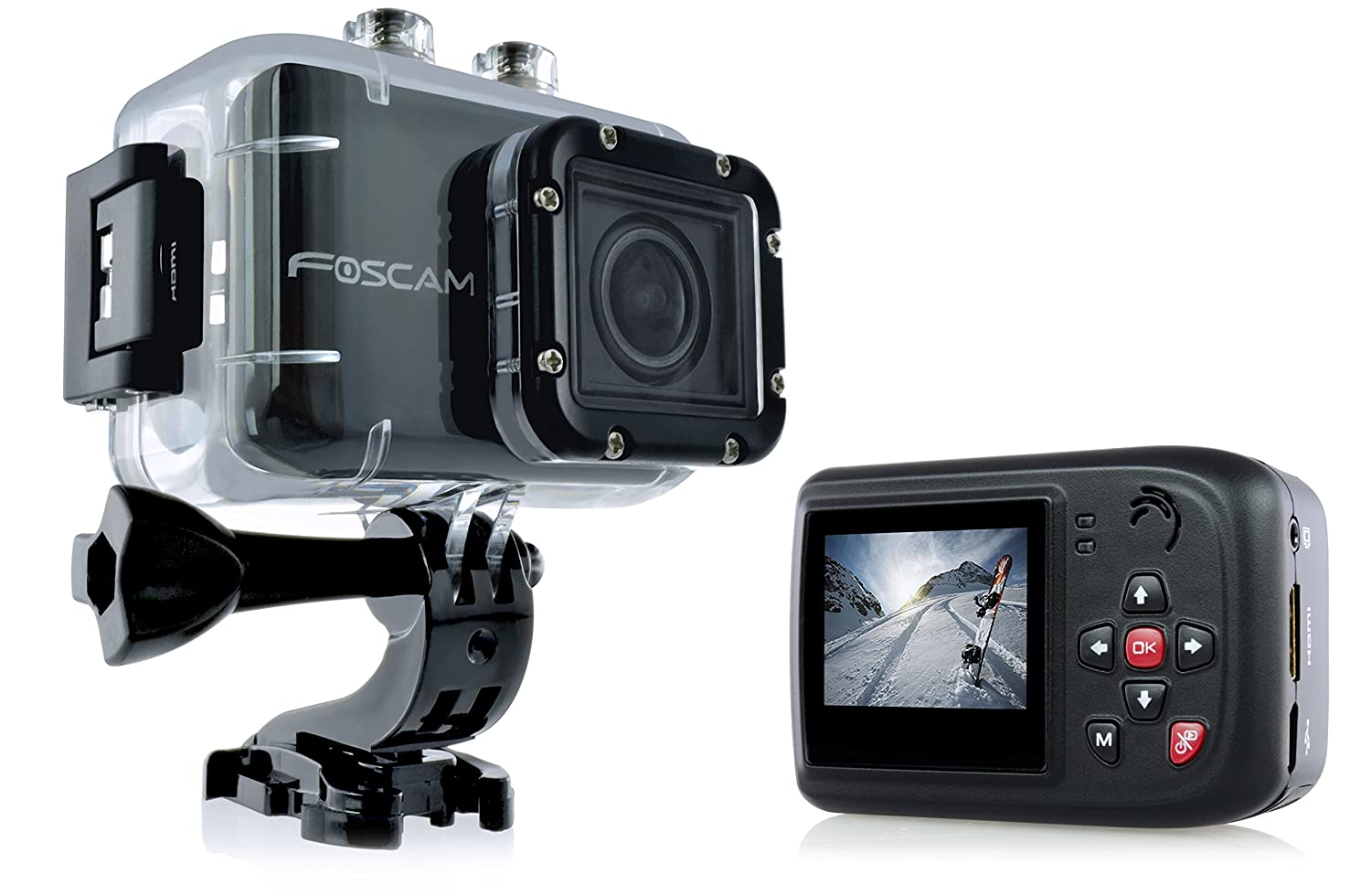"Foscam AC1080 Action Camera - HD 1080P, 12MP 3x Rapidshot, 170° Viewing Angle, 1.5"" LCD Viewscreen, Built-in Mic & Speaker (196"
