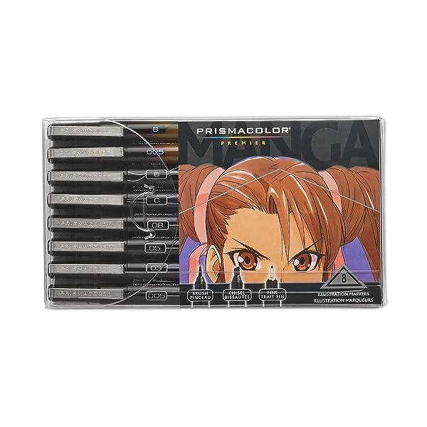 Prismacolor Premier Manga Illustration Markers, Assorted Tips, Black & Sepia, 8-Count (Color: Black & Sepia, Tamaño: 8-Count)