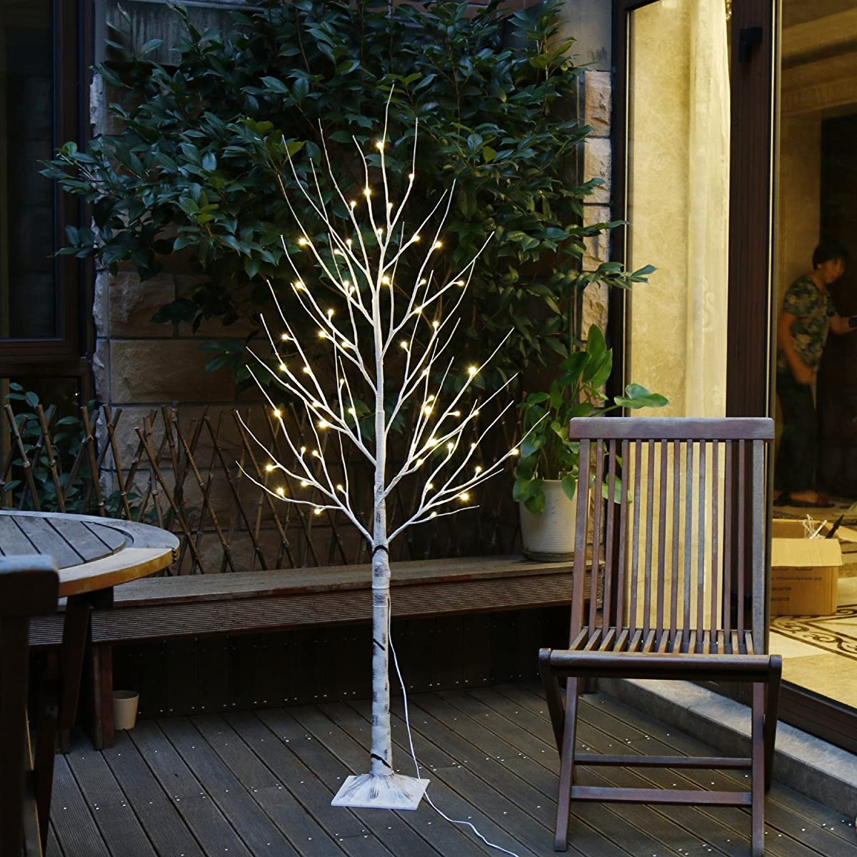 EAMBRITE Warm White LED Tree Light Winter Wedding Home Decorative Tree Light for Indoor and Outdoor Use (5FT Birch Tree Lights)