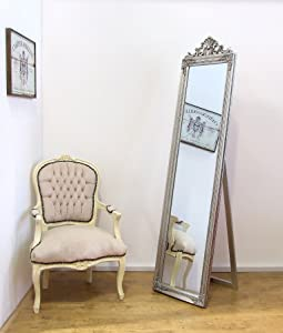Lambeth Shabby Chic Silver Solid Wood Framed Large Free Standing Cheval Mirror   45.5cm (18 ) by 180cm (71 )       reviews and more information