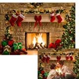 Allenjoy 7x5ft Christmas Theme Tree Stove Sock Fireplace Gift Xmas Party Photography Christmas Backdrop for Pictures Decorations Background Photo Studio Props (Color: style19, Tamaño: 7ft by 5ft Vinyl)