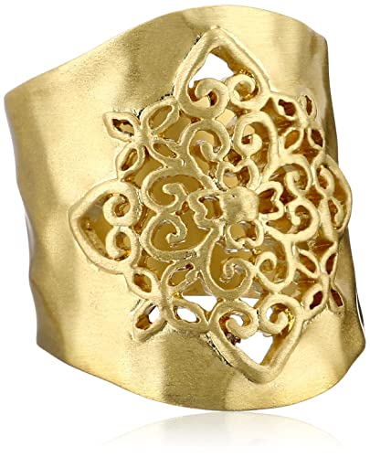 Gold-Tone-Filigree-Hammered-Ring