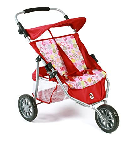 CHIC 2000 Bayer Twin Jogger Combi Dolls Pram (Ruby Red)