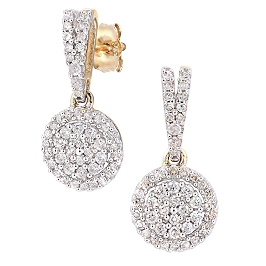 Naava 9ct Gold Diamond Cluster Earrings