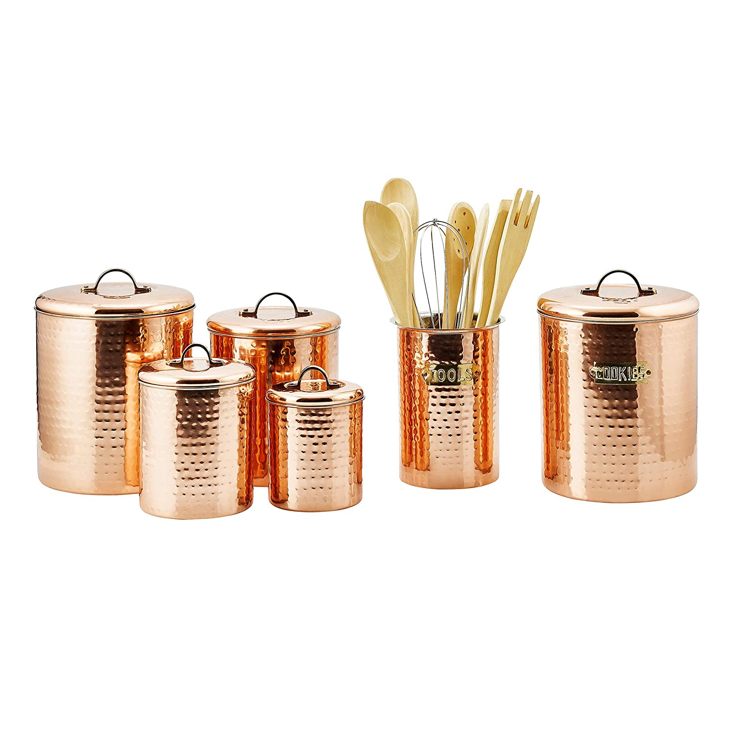 copper canister set 4 pc hammered lids flour sugar coffee 1950s kitchen canister set flour sugar coffee tea grease jar