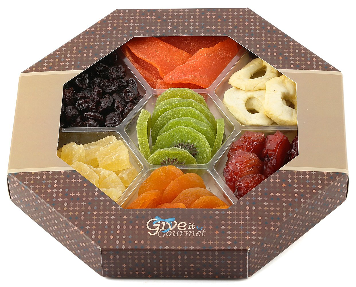 GIVE IT GOURMET, Assortment Dried Fruits Basket (7 Section) - Array of Organic Delicious Dried Fruit for Holidays Snack | Large Healthy Gift Basket