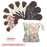 Teamoy 10Pcs Sanitary Pad ,Reusable Washable Cloth Menstrual Pads/Panty Liners with Wet Bag, Super-absorbent, Soft and Comfortable(3pcs×7.9''+4pcs×10''+3pcs×11.6'') (Color: Leaves+Jungle+Flowers, Tamaño: 10pcs (3*S+4*M+3*L))