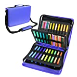 YOUSHARES Colored Pencil & Gel Pen Case in Large Flexible Slot - PU Leather Colored Pencil Case with Zipper Holds 180 Colored Pencils or 140 Gel Pens - for Watercolor Pencils, Gel Pens(Blue) (Color: Blue)