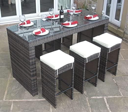 Rattan Outdoor Garden 7 Piece Bar Furniture Set By Limitless Base