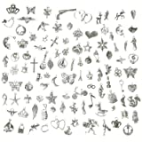 Korlon 105 Pieces Mixed Silver Charm Pendants Metal DIY Craft Charms for Jewelry Making and Crafting (Color: 105 Pcs (Silver), Tamaño: One Size)