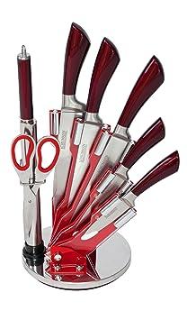 schumann professionnel sco1500803 lot de de 8 pi ces socle de couteaux rouge cuisine rouge. Black Bedroom Furniture Sets. Home Design Ideas