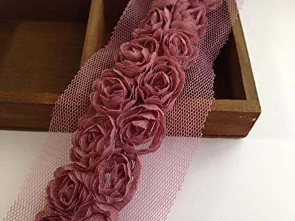 3m 2 column 3D stereoscopic rose motif miniature rose tulle lace Burgundy purple purple (japan import)