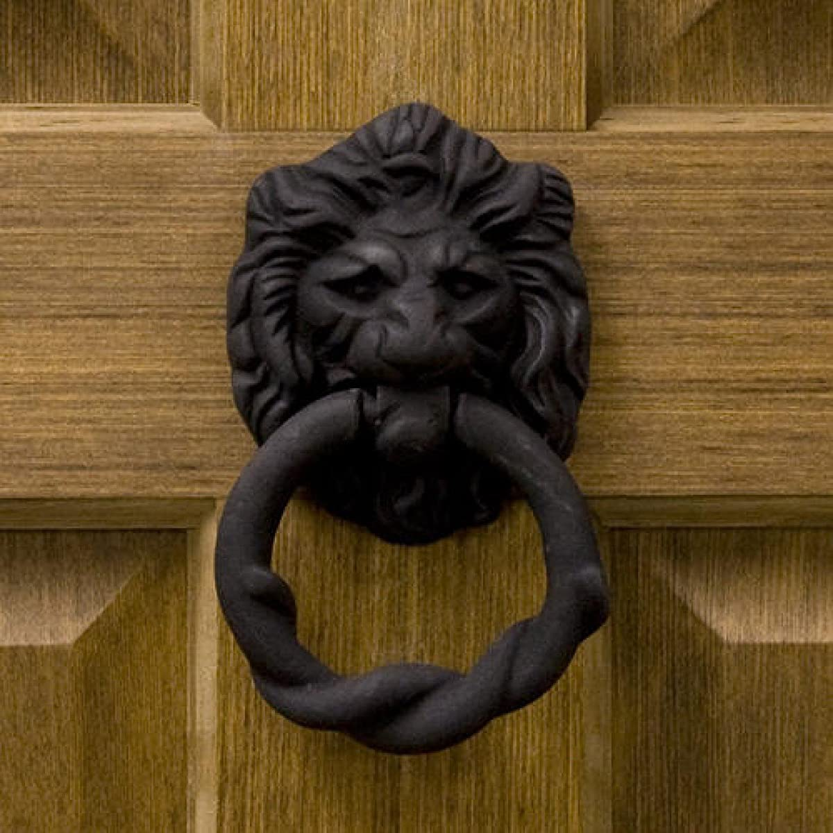 Casa Hardware Lion Head Iron Door Knocker in Black Powder Coat Finish