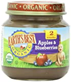 Earth's Best Organic Apples and Blueberries, 4 Ounce Jars (Pack of 12)