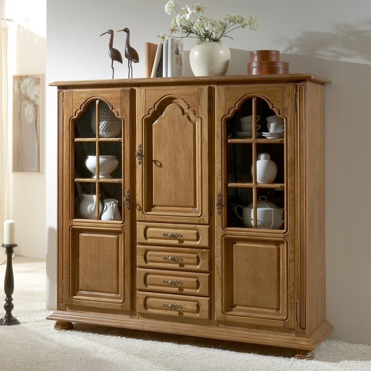BFK Möbel Collection 45053 Highboard Seefeld, 48 x 152 x 145 cm, P43 eiche