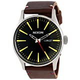 Nixon Men's A105019 Sentry Leather Watch (Color: Black/Brown, Tamaño: One Size)